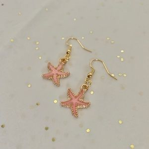 Pink Starfish Earrings by The Tangled Cotton